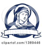 The Blessed Virgin Mary In A Blue And White Circle With A Ribbon Banner