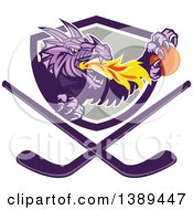 Clipart Of A Retro Purple Fire Breathing Dragon Holding A Ball And Emerging From A Shield Over Crossed Hockey Sticks Royalty Free Vector Illustration