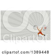 Clipart Of A Cartoon Bald Eagle Man Bodybuilder Working Out With A Barbell And Gray Rays Background Or Business Card Design Royalty Free Illustration