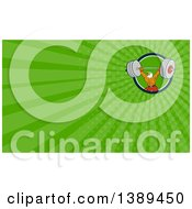 Clipart Of A Cartoon Bald Eagle Man Bodybuilder Working Out With A Barbell And Green Rays Background Or Business Card Design Royalty Free Illustration