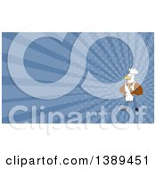 Clipart Of A Cartoon Bald Eagle Man Chef Baker Holding A Rolling Pin And Blue Rays Background Or Business Card Design Royalty Free Illustration