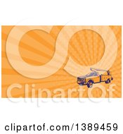 Clipart Of A Retro Woodcut Cherry Picker Lift Truck And Orange Rays Background Or Business Card Design Royalty Free Illustration