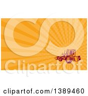 Clipart Of A Retro Woodcut Excavator Mechanical Digger Machine And Orange Rays Background Or Business Card Design Royalty Free Illustration