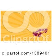 Retro Woodcut Pickup Truck And Orange Rays Background Or Business Card Design