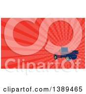 Clipart Of A Retro Woodcut Flatbed Truck And Red Rays Background Or Business Card Design Royalty Free Illustration