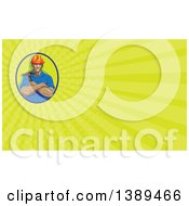 Clipart Of A Retro Wpa Styled Construction Worker Holding A Hammer In Folded Arms And Green Rays Background Or Business Card Design Royalty Free Illustration by patrimonio