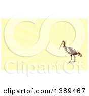 Clipart Of A Retro Woodcut Crane Bird And Yellow Rays Background Or Business Card Design Royalty Free Illustration