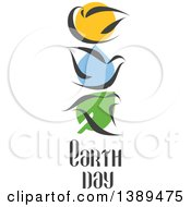 Flat Design Doves And Earth Day Text