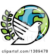 Clipart Of A White Dove Olive Branch And Planet Earth Royalty Free Vector Illustration by elena