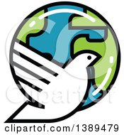 Clipart Of A White Dove And Planet Earth Royalty Free Vector Illustration