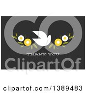 Flat Design White Dove And Flowers Over Thank You Text On Dark Gray