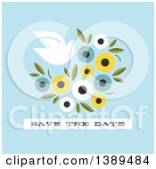Flat Design Dove And Flower Save The Date Wedding Invitation On Blue