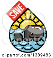 Clipart Of A Happy Whale In A Waterdrop Of The Sea And Sunset With Save Text Royalty Free Vector Illustration