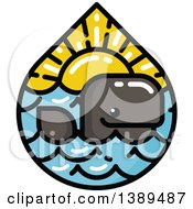 Clipart Of A Happy Whale In A Waterdrop Of The Sea And Sunset Royalty Free Vector Illustration