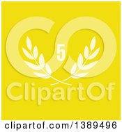 Clipart Of A Number Five Over Laurel Branches On Yellow Royalty Free Vector Illustration by elena