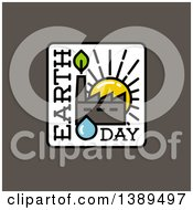 Clipart Of A Flat Square Earth Day Design With A Factory At Sunset Over Gray Royalty Free Vector Illustration by elena