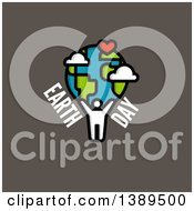 Clipart Of A Person Holding Up A Globe With A Heart And Earth Day Text On Gray Royalty Free Vector Illustration by elena
