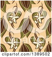 Flat Design Background Pattern Of Vanilla Flowers Pods And Cocoa On Tan