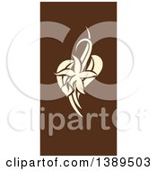Flat Design Vanilla Flower And Pods On Brown