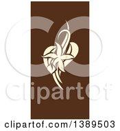 Flat Design Vanilla Flower And Pods On Brown