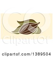 Clipart Of A Flat Design Cocoa Pod And Leaves On Tan Royalty Free Vector Illustration by elena