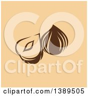 Clipart Of A Flat Design Cocoa Pod On Tan Royalty Free Vector Illustration
