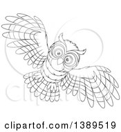 Clipart Of A Cartoon Black And White Lineart Flying Owl Royalty Free Vector Illustration by Alex Bannykh