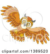 Clipart Of A Cartoon Flying Owl Royalty Free Vector Illustration