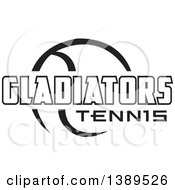 Clipart Of A Black And White Ball And GLADIATORS Tennis Text Royalty Free Vector Illustration