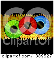 Clipart Of Colorful Vinyl Record Lps Over Mosaic Tiles And Black Royalty Free Vector Illustration