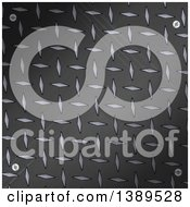 Clipart Of A Scratched Black Diamond Plate Metal Background With Screws In The Corner Royalty Free Vector Illustration by elaineitalia