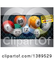 Clipart Of 3d Colorful Bingo Balls In A Cage Over Metal Royalty Free Vector Illustration