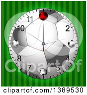 Clipart Of A 3d Soccer Ball Wall Clock Over Green Stripes Royalty Free Vector Illustration by elaineitalia