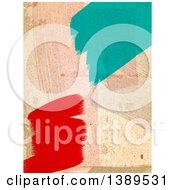 Poster, Art Print Of Dirty Wall With Red And Turquoise Paint Stokes