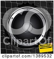 Clipart Of A 3d Music Speaker Over Metal Cage Wire With A Warning Sign Royalty Free Vector Illustration