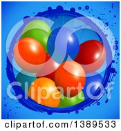Clipart Of 3d Colorful Party Balloons Emerging From A Grungy Circle With An Airplane On Blue Royalty Free Vector Illustration by elaineitalia