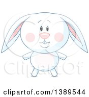 Clipart Of A Cute White Rabbit Royalty Free Vector Illustration by Pushkin