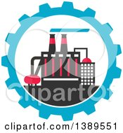 Clipart Of A Flat Design Factory Complex In A Blue Gear Cog Wheel Royalty Free Vector Illustration by Vector Tradition SM