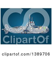 Clipart Of A Submarine Made Of Mechanical Parts On Blue Royalty Free Vector Illustration by Vector Tradition SM