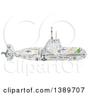 Clipart Of A Submarine Made Of Mechanical Parts Royalty Free Vector Illustration by Vector Tradition SM