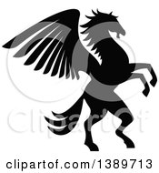 Clipart Of A Black And White Silhouetted Rampant Winged Horse Pegasus Royalty Free Vector Illustration by Vector Tradition SM