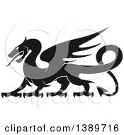 Black Silhouetted Dragon