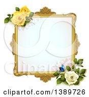 Blank Wedding Picture Frame With Yellow And White Roses And A Butterfly On White