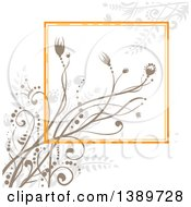 Background Of Taupe Floral Plants And An Orange Square On Off White