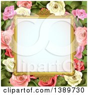 Blank Wedding Picture Frame With White And Pink Roses With Leaves