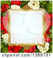 Clipart Of A Blank Wedding Picture Frame With White And Red Roses With Leaves Royalty Free Vector Illustration