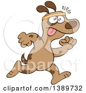 Clipart Of A Cartoon Brown Dog Running Upright Royalty Free Vector Illustration by Zooco
