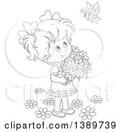 Clipart Of A Cartoon Happy Black And White Lineart Girl Holding Flowers And Looking Up At A Butterfly Royalty Free Vector Illustration