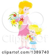 Clipart Of A Happy Blond Caucasian Girl And Mother Holding Flowers Royalty Free Vector Illustration