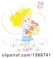 Clipart Of A Happy Blond Caucasian Girl Holding Flowers And Looking Up At A Butterfly Royalty Free Vector Illustration